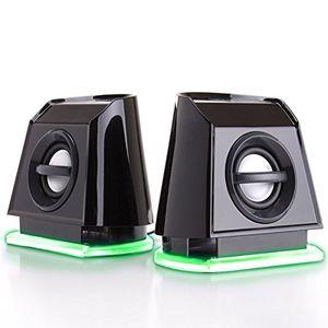 gogroove pc lautsprecher für computer laptop kleine 20 stereo speaker mit grünen led lights leistungsstarkem bass und passiven subwoofern usb betrieben