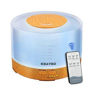 kbaybo aroma diffuser 500ml fernsteuerung funktion luftbefeuchter oil düfte humidifier holzmaserung led mit 7 farben für yoga salon spa wohn schlaf bade oder kinderzimmer hotel