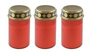 bellaton 3er set led grablicht rot mit golddeckel grableuchte grabkerze mit schalter