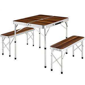 tectake koffertisch mit 2 sitzbänke campingmöbel set aluminium totalmaße geklappt 91x10x34 cm