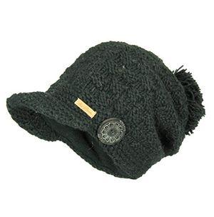Hot mcron wollmütze mika schwarz für damen beanie warm gefüttert mit weichem fleece strickmütze mit schirm wintermütze mit bommel