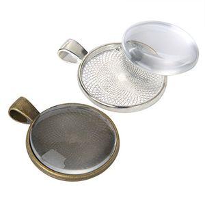 Buy 24 stück silbern und bronze anhänger tabletts runde lünette mit 24 stück glas runde kuppel fliesen insgesamt 48 stück