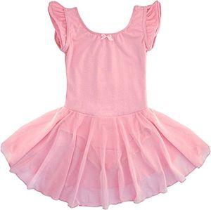 dancina mädchen kurzarm ballettkleid aus baumwolle mit flügelärmeln 128134 rosa