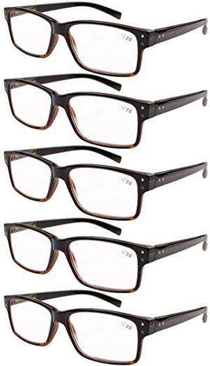 Hot Eyekepper 5 paquetes de bisagra con muelle Vintage Gafas de Lectura (Negro/Amarillo,+1.00) Mejor oferta