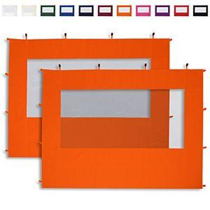 deals for - 2 seitenteile mit panoramafenstern in orange für 3x3m falt pavillon faltpavillon von profizelt24