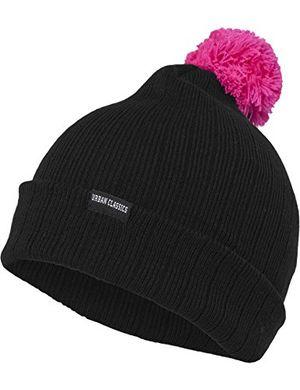 Hot urban classics unisex ohrenschützer wintermütze neon contrast bobble beanie mehrfarbig blackpink one size