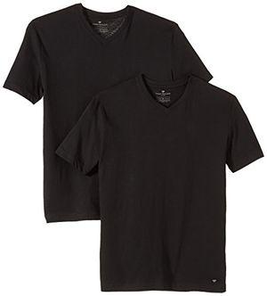 tom tailor herren t shirt double pack v neck gr small schwarz black 2999
