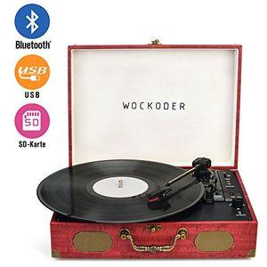 photos of Wockoder Turntable Vinyl Plattenspieler Koffer Vintage Retro Bluetooth USB Nostalgie Schallplattenspieler Mit Lautsprecher Riemenantrieb Aux In RCA 33/45/78 U/min Tragbar Holz Einkaufsführer Kaufen   model CE