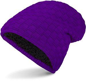 warme feinstrick beanie winter mütze mit flecht muster grobstrick für herren damen wintermütze mit sehr weichem innenfutter unisex dark purple