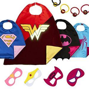 ofertas para - laegendary disfraces de superhéroes para niños regalos de cumpleaños para niños 4 capas y máscaras logo brillante de wonder woman juguetes para niñas
