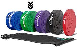 Comprar Banda elástica de resistencia BeMaxx Fitness + guía de entrenamiento | Para pull–ups crossfit, yoga, pilates | Banda de tracción para fitness y estiramientos | Duradera, resistente, versátil Mejor compra