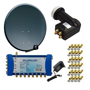 Angebote für -premiumx digital hd sat anlage antenne 100 cm alu anthrazit mit skyrevolt multischalter sv 58 multiswitch sat verteiler skyrevolt quattro lnb hdtv 24x f stecker