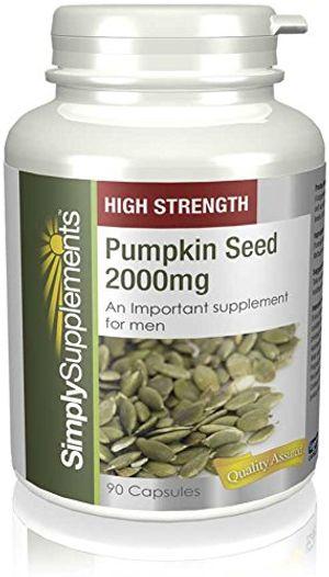 Calientes Semilla de Calabaza 2000mg - 180 cápsulas - Hasta 6 meses de suministro - Para la salud de la próstata - SimplySupplements antes de compra
