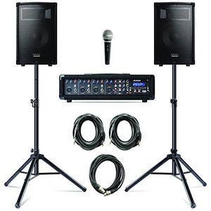 deals for - alesis pa system in a box bundle 280w sound system mit 4 kanal mixer 2 10 zoll passiv 2 wege lautsprecher mit stative lautsprecherkabel und mikrofon mit kabel
