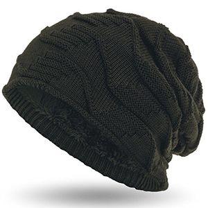 compagno mütze warm gefütterte wintermütze elegantes strickmuster mit weichem fleece futter beanie farbeoliv