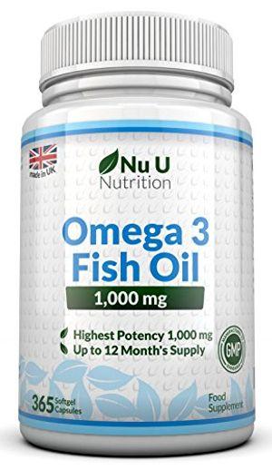 Hot Omega 3 - Aceite de Pescado - 1000 mg - 365 Cápsulas (Suministro Anual) - Complemento alimenticio de Nu U Nutrition Mejor oferta