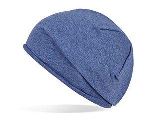 Buy trendige leichte und dünne jersey beanie unisex für damen und herren blau onesize
