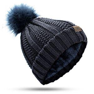 Angebote für -muco wintermütze damen mann winter hut stricken klobig faux pelz warm linling pom poms hut bommel hut ski mütze