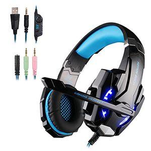 deals for - weie gaming ps4 headset over ear kopfhörer mit mikrofon surround sound und leds für ps4xbox onepc blue enthalten adapter