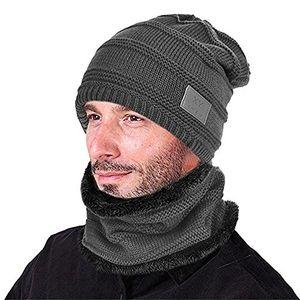 Angebote für -goodbuy winter mütze herren strickmütze beanie damen und schal mit fleecefutter grau