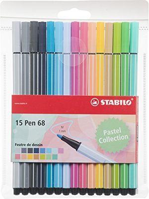 stabilo pen 68filzstifte mittlere spitze pochette de 15 feutres couleurs pastel