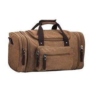 Hot pkuvdsl canvas sporttasche für wochenende khaki unisex reisetasche für herren und damensegeltuch reisetasche