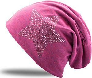 Review for jersey baumwolle elastisches long slouch beanie unisex herren damen mit strass stern steinen mütze heather in 35 verschiedenen farben 2 pink blue