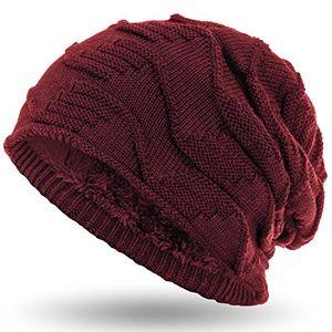 compagno mütze warm gefütterte wintermütze elegantes strickmuster mit weichem fleece futter beanie farbedunkelrot
