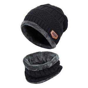alando warm kinder outdoor sport wintermütze strickmütze kuschlig schal mit loop schwarz