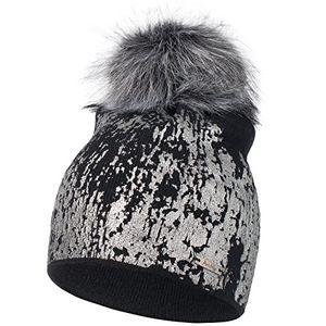 deals for - cleostyle damen wintermütze mit kunstfellbommel strickmütze cl 370 schwarz silber