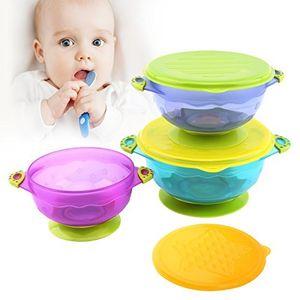ofertas para - zooawa kit de tazón con ventosa para bebé muitocolor bol antideslizante con tapa juguete de alimentación para bebés de más de 6 meses pp material comestible sin bpa anti caliente 3pcs