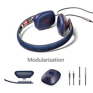 photos of On Ear Stereo Kopfhörer Mit Mikrofon Für Apple IPhone, Stilvolle Denim Design über Kopf Kopfhörer Mit Zwei Optionalen Earcups H7 Von OVC Pro Cons Kaufen   model CE