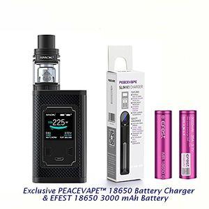 ofertas para - auténtico majesty 225w edición de fibra de carbono tfv8 x baby 2ml tank cigarrillo electrónico negro on 2 x efest 3000 mah batería y cargador de 18650 batería peacevape™ sin tabaco sin nicotina