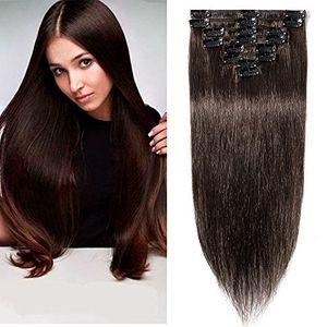 Cheap Extensiones de Cabellos Naturales Clips Pelo Humano 100% REMY 8 Piezas 18 Clips para el pelo muy fino (#2 Marrón oscuro 50cm 70g) con el envío libre