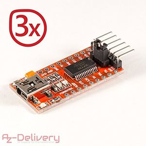 azdelivery ftdi adapter ft232rl usb zu ttl serial für 33v und 5v 3x ftdi adapter