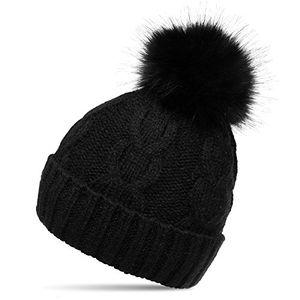 deals for - caspar mu175 damen winter mütze strickmütze bommelmütze mit großem fellbommel farbeschwarzgrößeone size