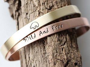 deals for - 2er set wild and free und eisbär kupfer messing armreife personalisierbar bis 20 zeichen jeweils geschenk