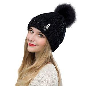 chrislley pom beanie mütze damen winter fleece gefütterte kabel gestrickte starke beanie mütze schwarz