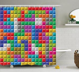 deals for - abakuhaus duschvorhang tetris computer spiel gamer arkaden bunt logo spieler applikation buntes druck mehrfarbig bunt wasser und blickdicht aus stoff mit 12 ringen bakterie resistent 175 x 200 cm