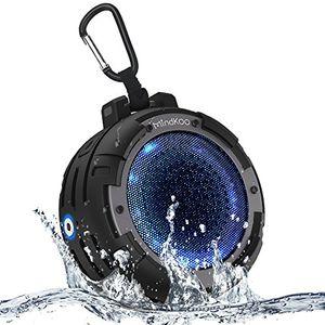 deals for - bluetooth lautsprecher mindkoo led wireless speaker ipx8 wasserdicht mit eingebauten mikrofon4 led lichtmodi12 stunden spielzeit kabellose portabler lautsprecher mit reinem bass für handys tablets laptops