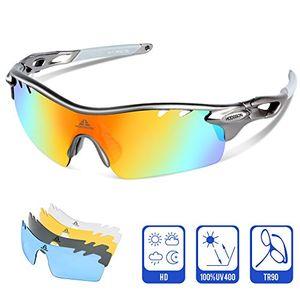 deals for - polarisierter sport sonnenbrille für herren und damen fahren golf laufen radsport superleichtes rahmen graugrau