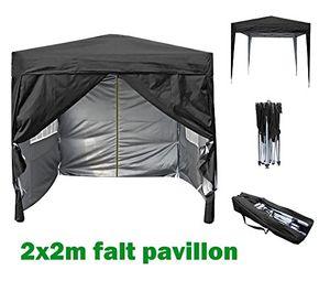 mcchome mcc® 2x2m pavillon gartenpavillon falt pavillon festzelt partyzelt komplettset in 4 farben schwarz