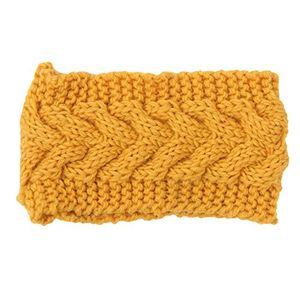 damen stirnbänder gestrickte winter warme wickel breites haarband haar accessoires euzeo gelb a