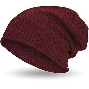 compagno gefütterte beanie wintermütze mit weichem und warmem teddy fleece futter mütze farbedunkelrot