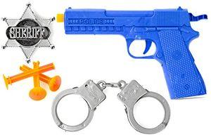 nerd clear polizei set für kinder pfeil pistole sheriff stern und handschellen spielzeug für karneval und fasching kostüm zubehör