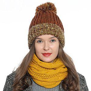dondon damen wintermütze strickmütze gefüttert warm und weich mit bommel braun gelb weiß
