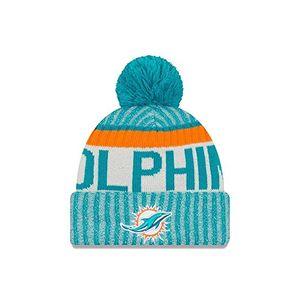 new era herren nfl sideline bobble knit miami dolphins beanie blau one size