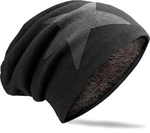 navyblu® unisex langes slouch beanie mütze in feinstrick mit teddyfleece innenfutter stern schwarz m2
