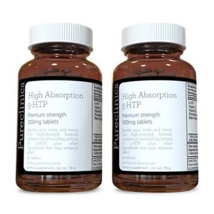 5HTP 300mg x 180 tablets (2 bottles with 90 tablets in each - 6 months supply. With 220mg Vitamin C, B6, and black pepper extract. SKU: 5H3x2 con el envío libre