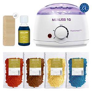 Inicio Kit Depilacion Calentador de Cera Fundidor Parafina Depiladora Easy Wax + Espatulas de Madera + Aceite Esencial Waxing Kit Mealiss 10 comparación
